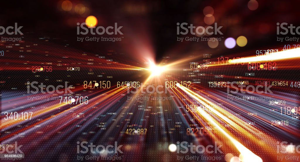 Transfer and storage of data sets stock photo