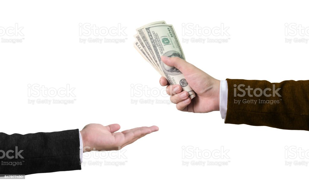 Transfer money concept, Businessman hand holding money, Isolated on white background stock photo