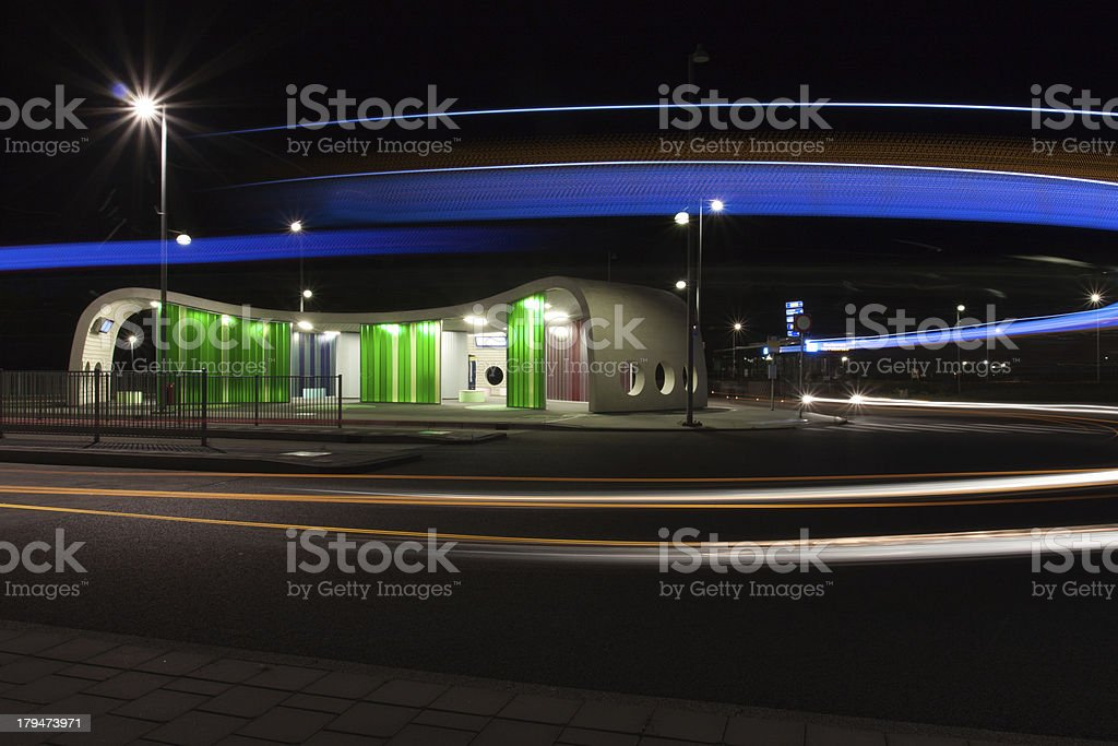 Transfer point by night royalty-free stock photo