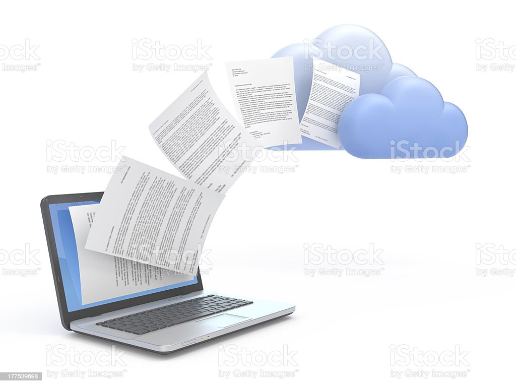 Transferring data to a cloud. stock photo