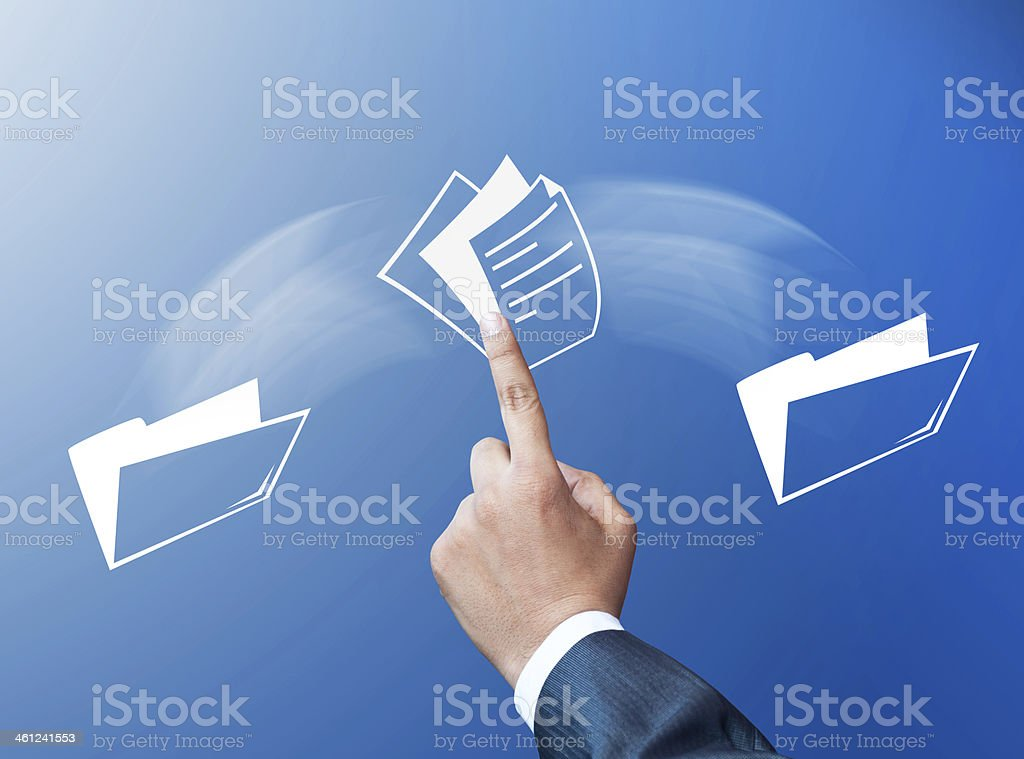 Transferring files concept stock photo