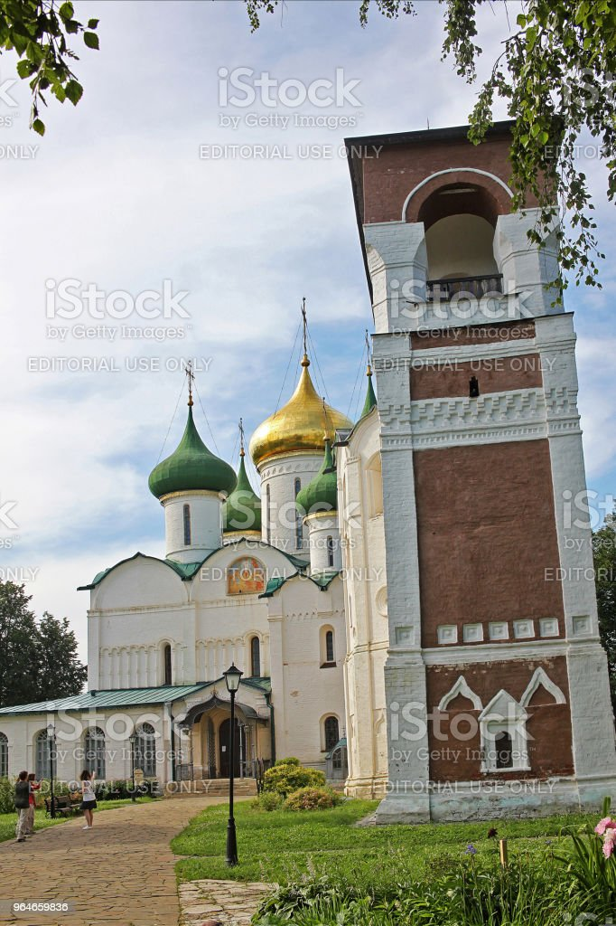 Transfiguration Cathedral and Bell tower in Suzdal, Russia royalty-free stock photo