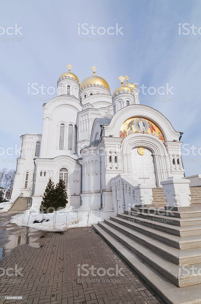Transfiguration Cathedral with block pavement before against sky background royalty-free stock photo