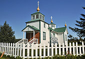 View of picturesque Russian Orthodox church located in a village of Ninilchik on Kenai Peninsula, Alaska, USA.
