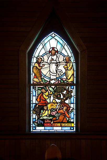 Transfiguration Window A window of the transfiguration, in the St. John's Church in Ketchikan Alaska, built in 1903. republic of karelia russia stock pictures, royalty-free photos & images
