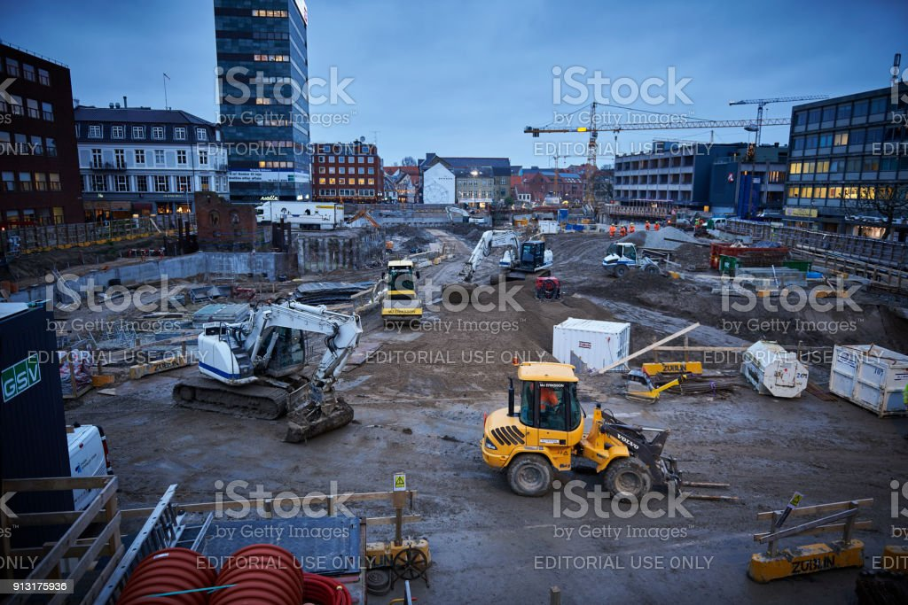 Transformation of Odense City - construction site stock photo