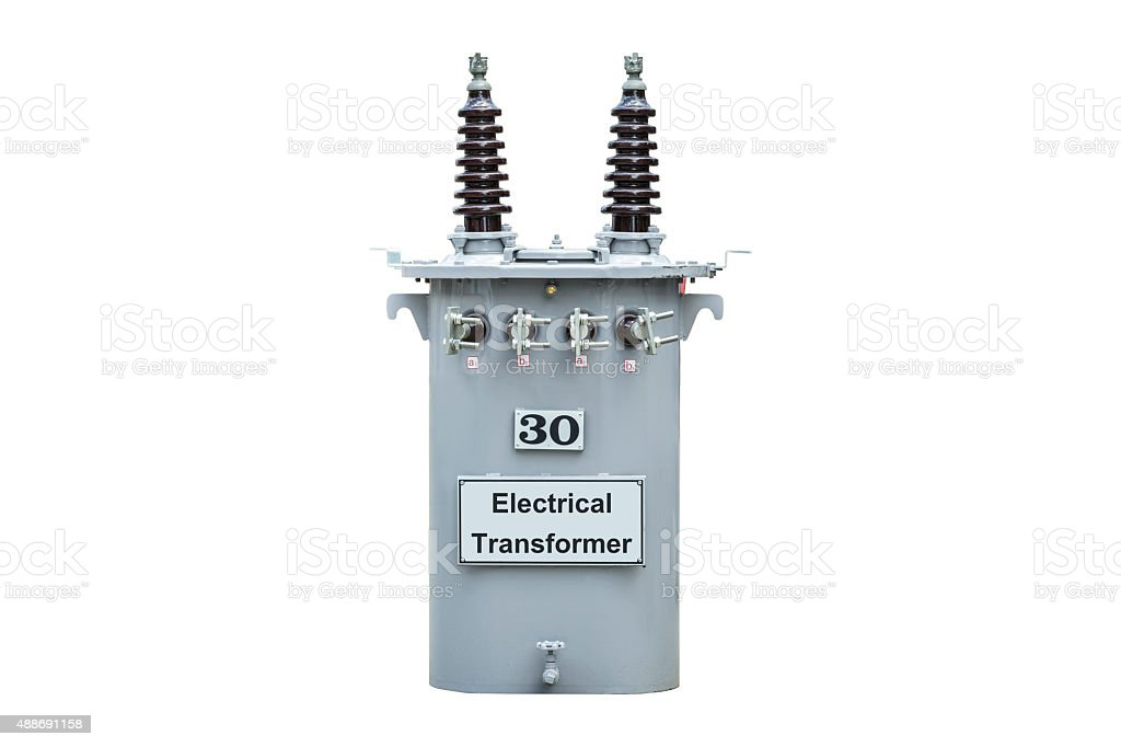 Transformer and the small voltage electric stock photo