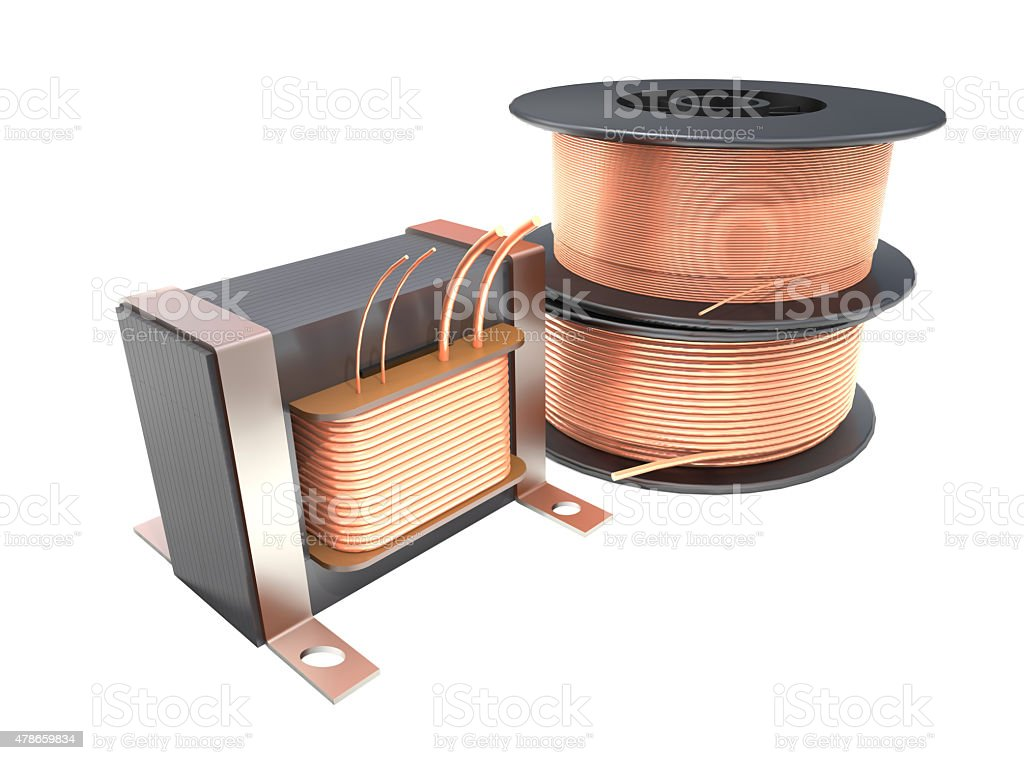 Transformer and wire reels. stock photo