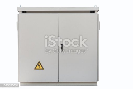Transformer cabinet, Outdoor electric control box isolated on white with clipping path