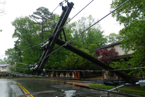 transformer on a pole and a tree laying across power lines over a road after Hurricane moved across transformer on a electric poles and a tree laying across power lines over a road after Hurricane knocked down stock pictures, royalty-free photos & images