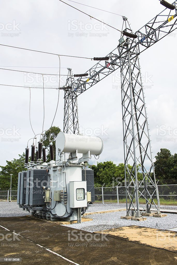 Transformer Station And The High Voltage Electric Pole Stock