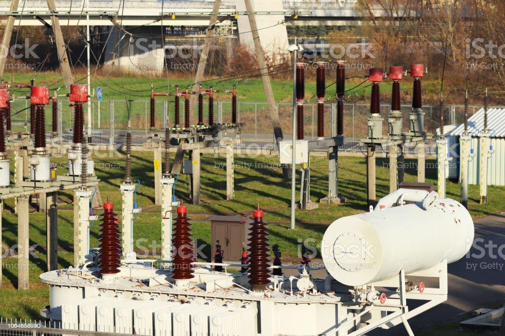 Transformer substation high voltage electrical network. Industrial...