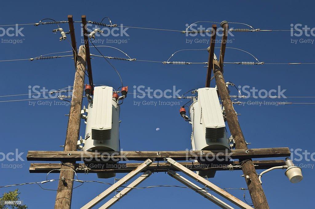 Transformadores, luna y Steetlight foto de stock libre de derechos