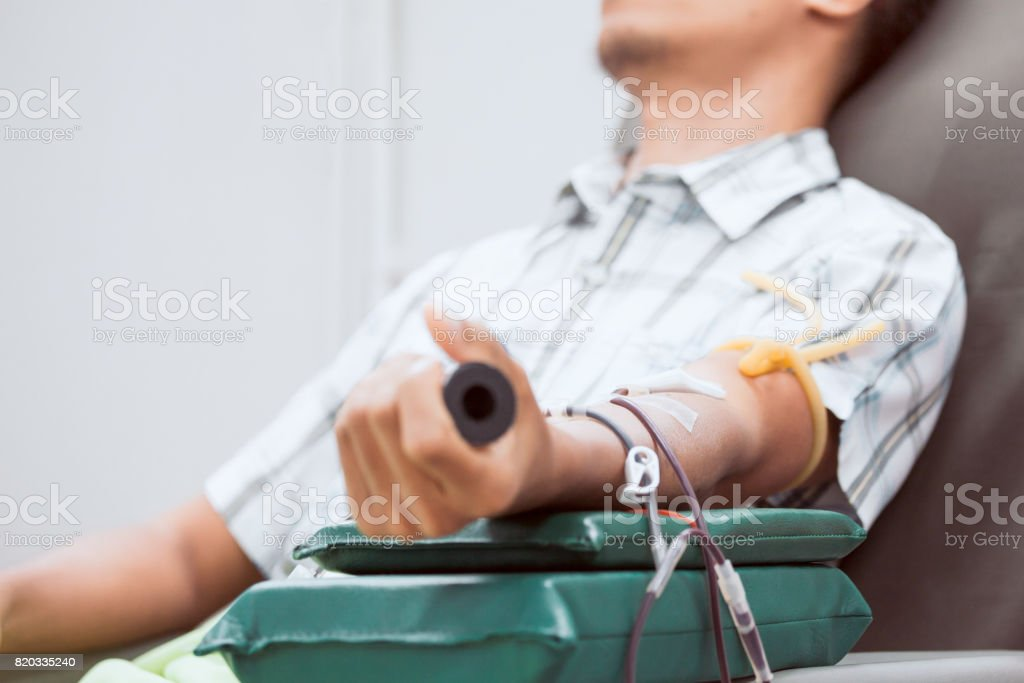 Transfusion blood donation,blood donor at hospital, Healthcare and charity concept stock photo