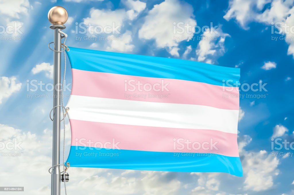 Transgender flag waving in blue cloudy sky, 3D rendering stock photo