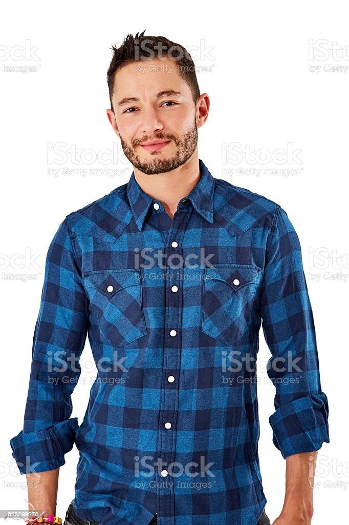 Transgender man standing on white stock photo