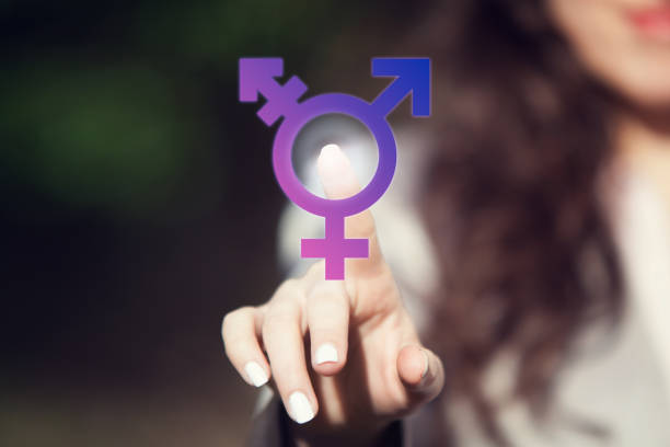 Transgender. Person pressing transgender symbol on touch screen. LGBT right concept. Transgender person coming forward about sexuality orientation. transgender stock pictures, royalty-free photos & images