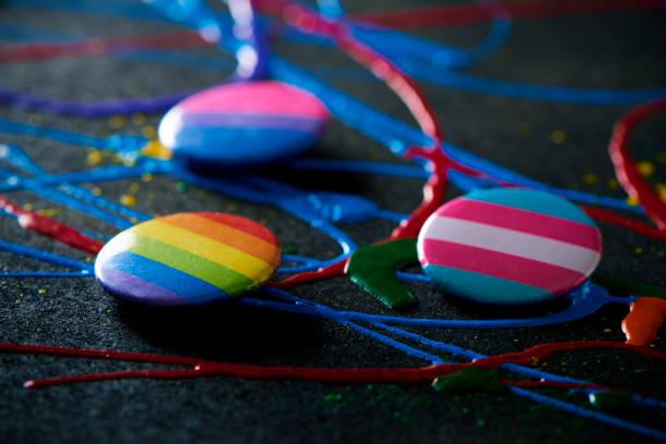 transgender pride, bisexual pride and rainbow flag stock photo