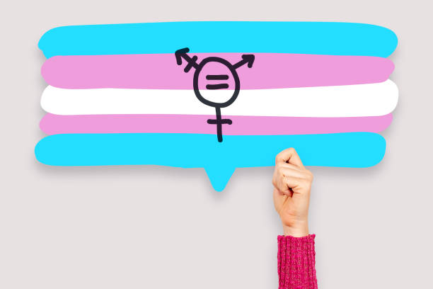 Transgender sex equality concept. Female hand holding speech bubble with transgender flag and symbol Transgender sex equality concept. Female hand holding speech bubble with transgender flag and symbol transgender stock pictures, royalty-free photos & images