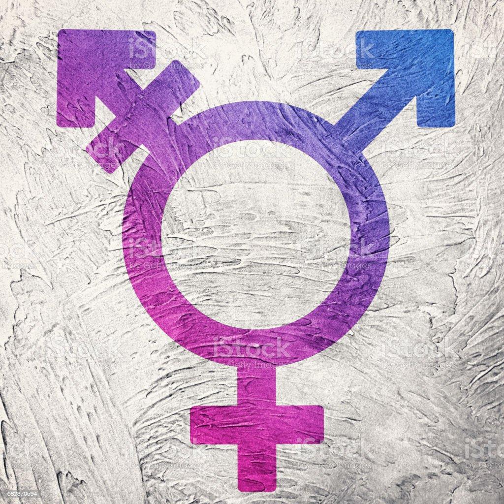Transpersoner symbolen kombinerar kön symboler. Retro stil. royaltyfri bildbanksbilder
