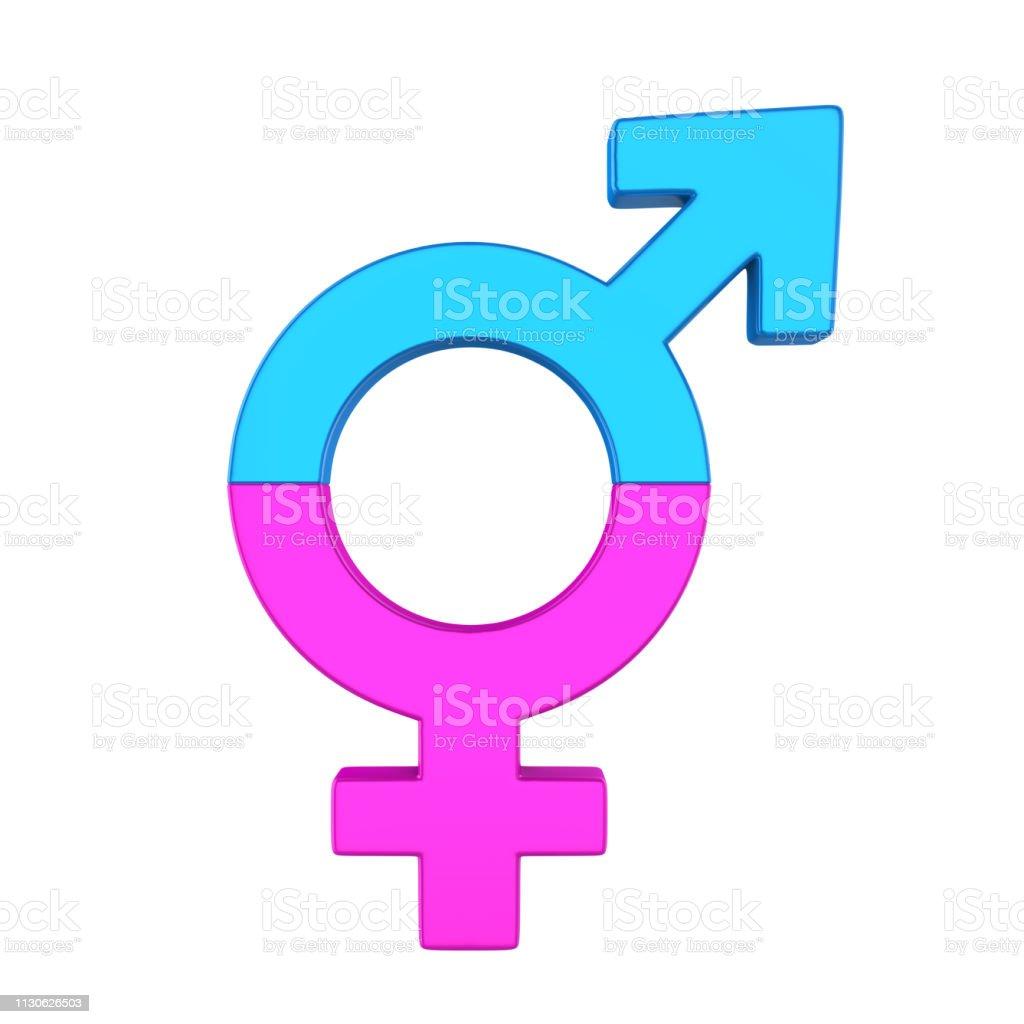 Transgender Symbol isolated on white background. 3D render