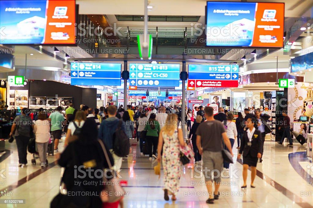 Transit and duty free corridor in airport Dubai stock photo