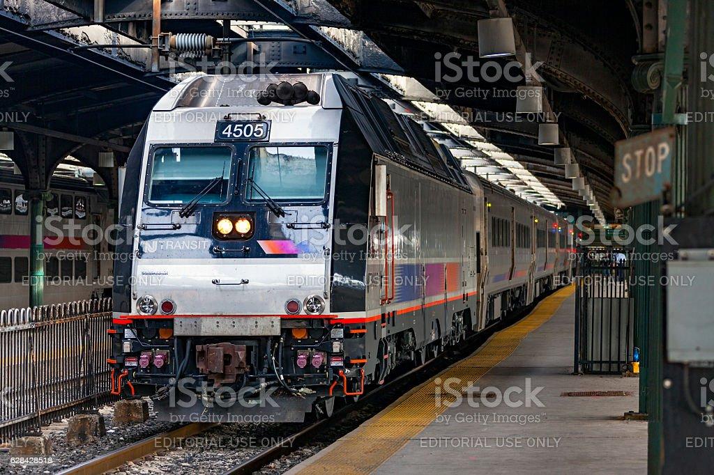 NJ Transit commuter service in historic Hoboken Terminal stock photo