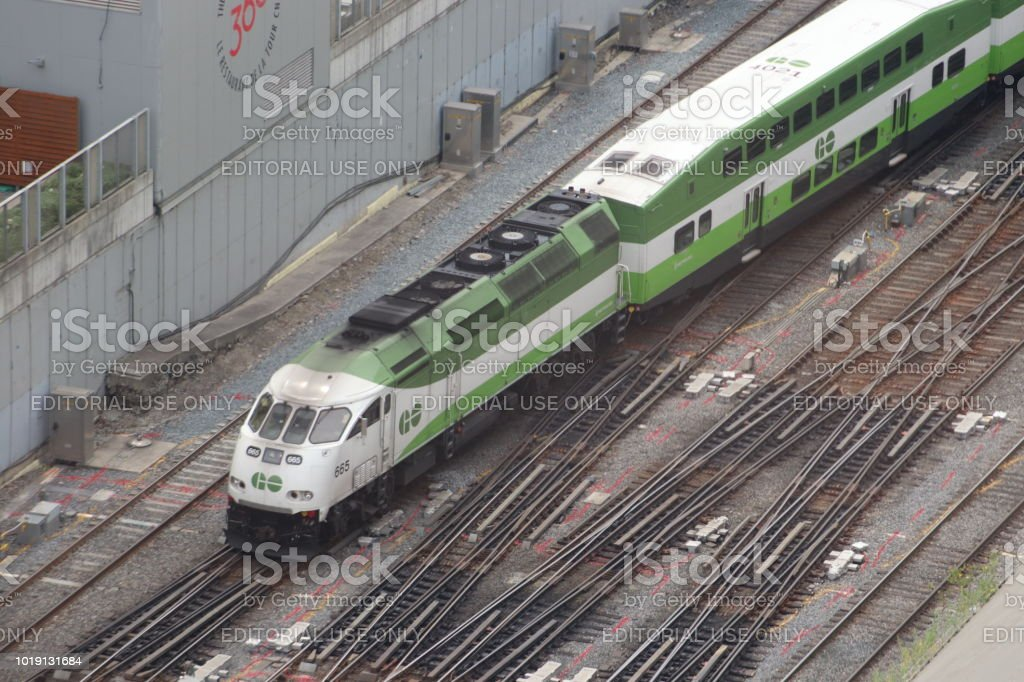 GO Transit Commuter Train On Clear Day stock photo