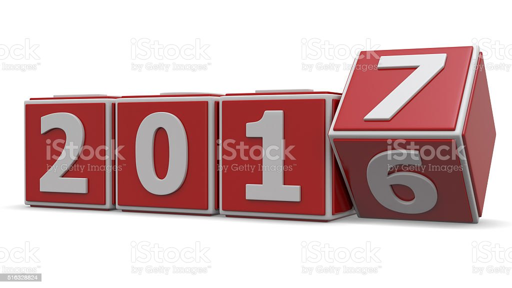 Transition from year 2016 to 2017 stock photo