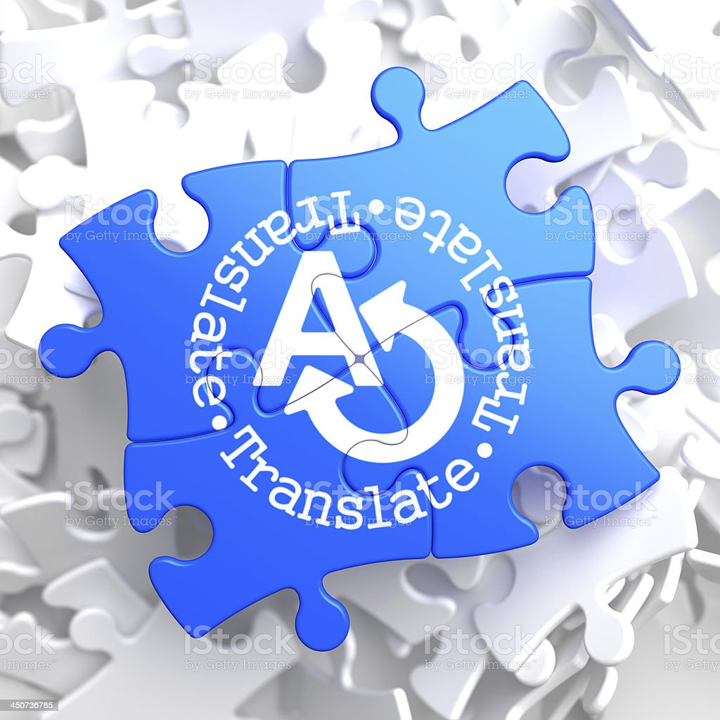 Translating Concept on Blue Puzzle. royalty-free stock photo