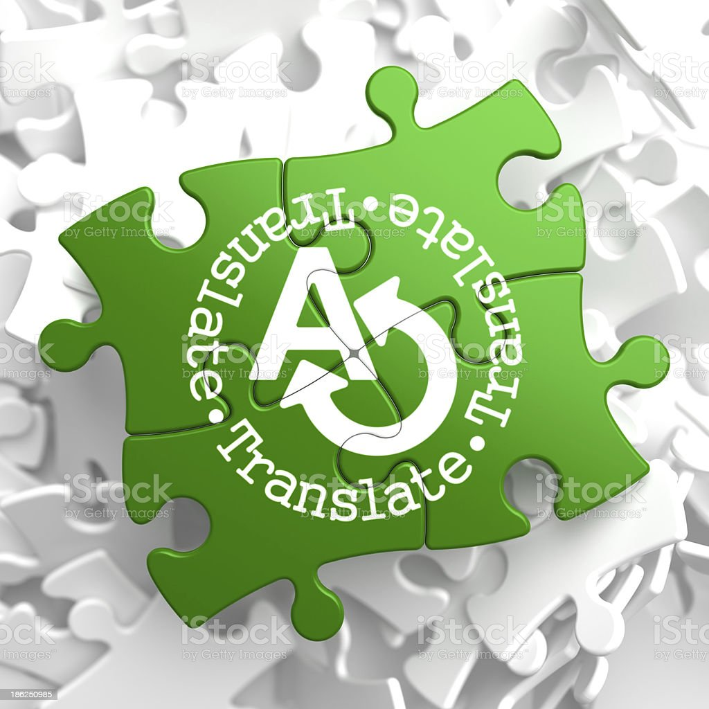 Translating Concept  on Green Puzzle Pieces. royalty-free stock photo