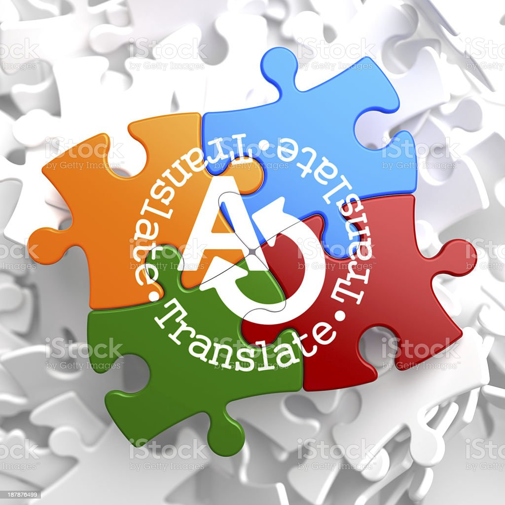 Translating Concept on Multicolor Puzzle. royalty-free stock photo