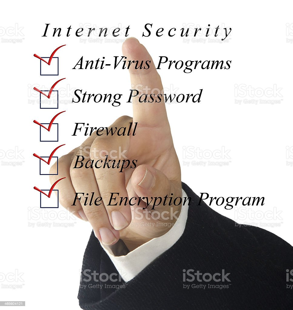 A translucent checklist for Internet security  stock photo