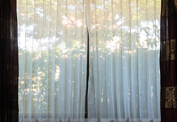 Translucent curtain window stock photo