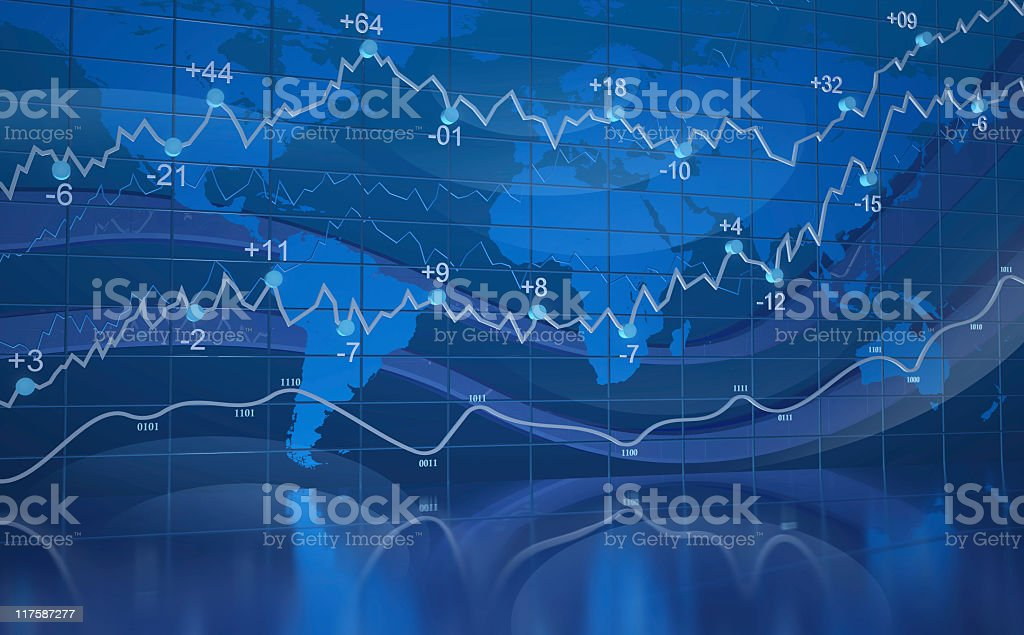 Translucent deep cerulean graph of stocks royalty-free stock photo