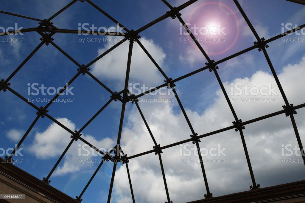 Translucent glass eiling of a veranda  Inside view - Стоковые фото Архитектура роялти-фри