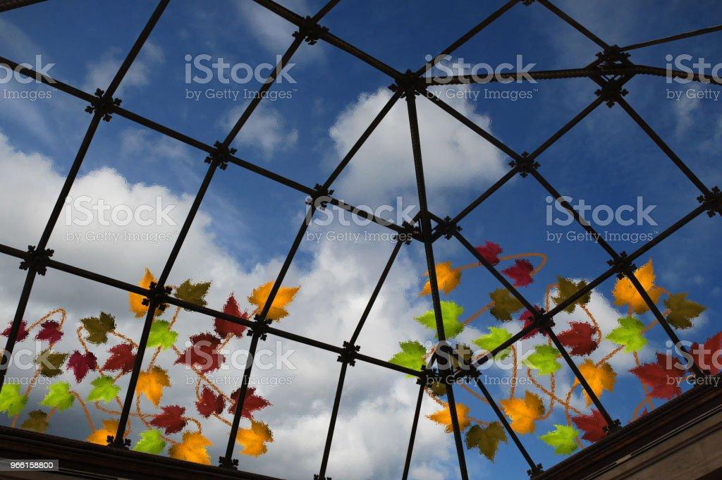 Eiling in vetro traslucido di una veranda Vista interna - Foto stock royalty-free di Ambientazione interna