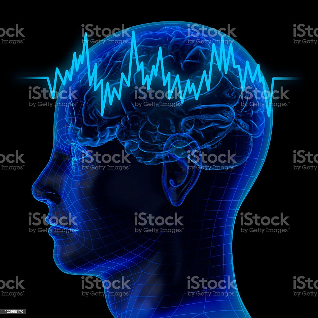 Translucent human head and brain with zigzag line stock photo