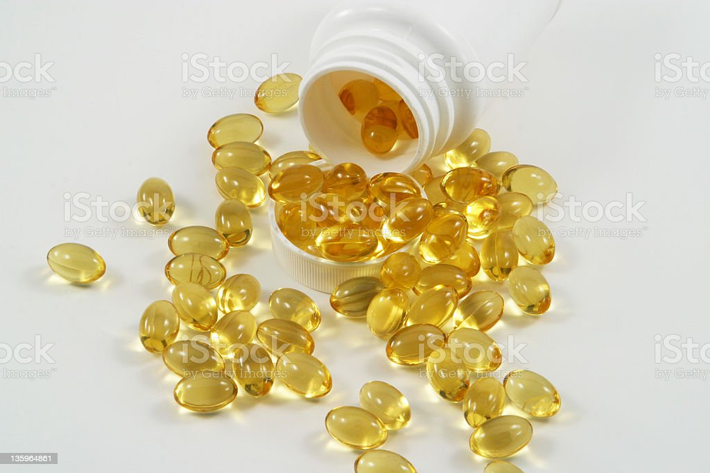 Translucent Pills With White Bottle royalty-free stock photo