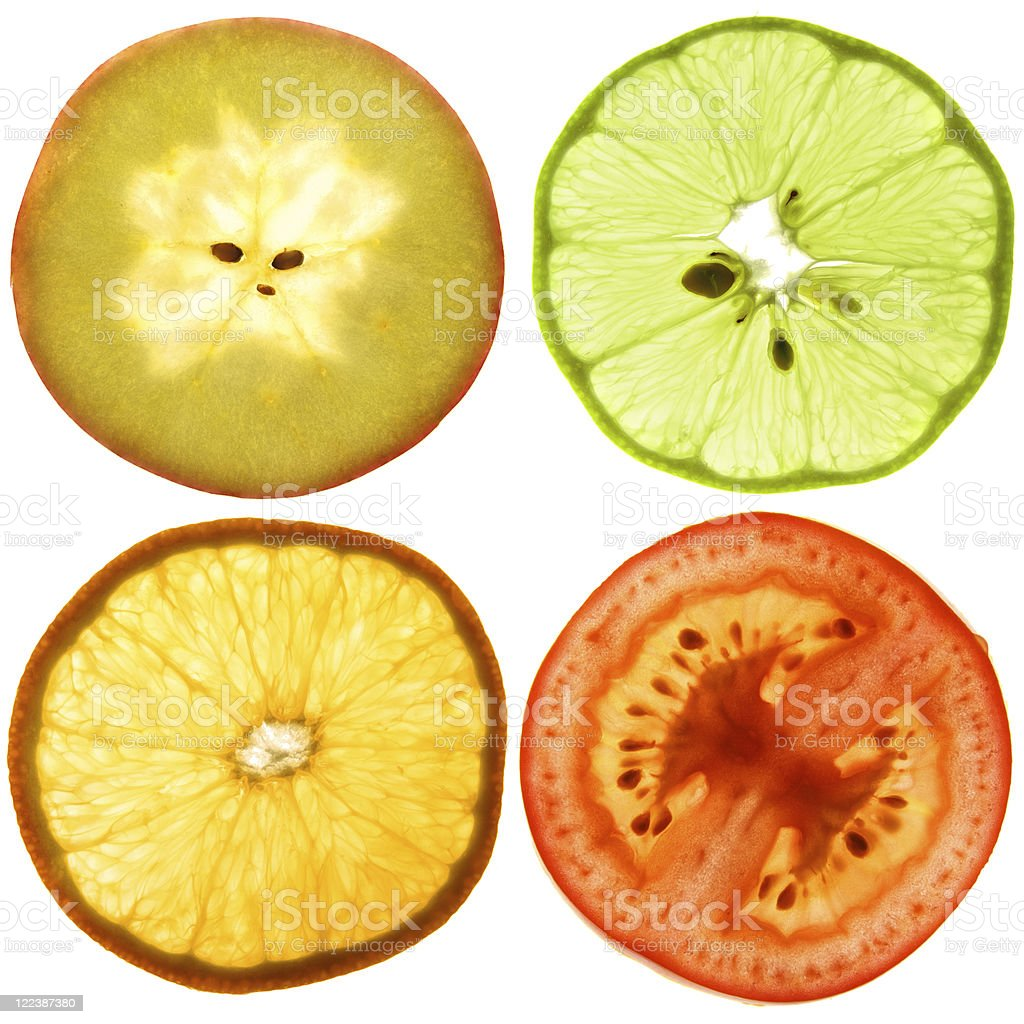 Translucent slices of an fruits royalty-free stock photo