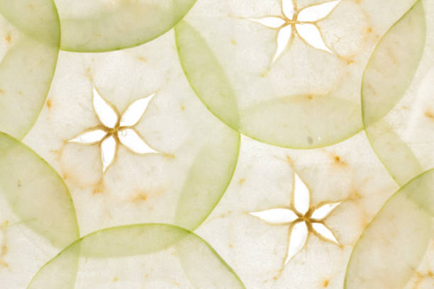 Translucent slices of apples stock photo