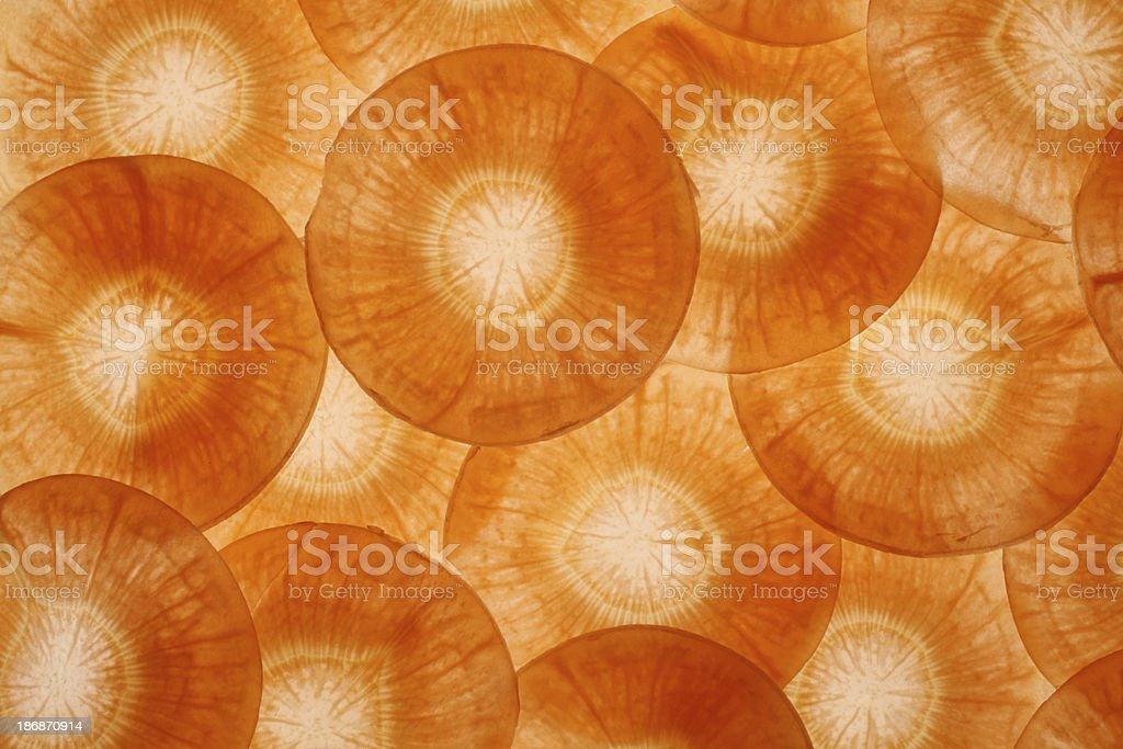 Translucent slices of carrots royalty-free stock photo