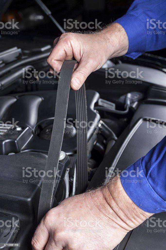Transmission belt, modern car engine stock photo