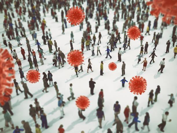 Transmission of the virus sars cov 2 guilty of covid 19 disease. 3D Rendering - foto stock