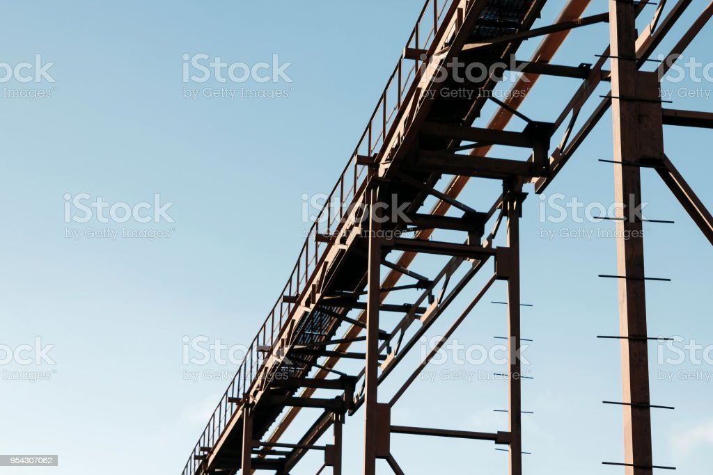 Transmission Pipeline On Blue Skies Background Pipe Rack Stock Photo