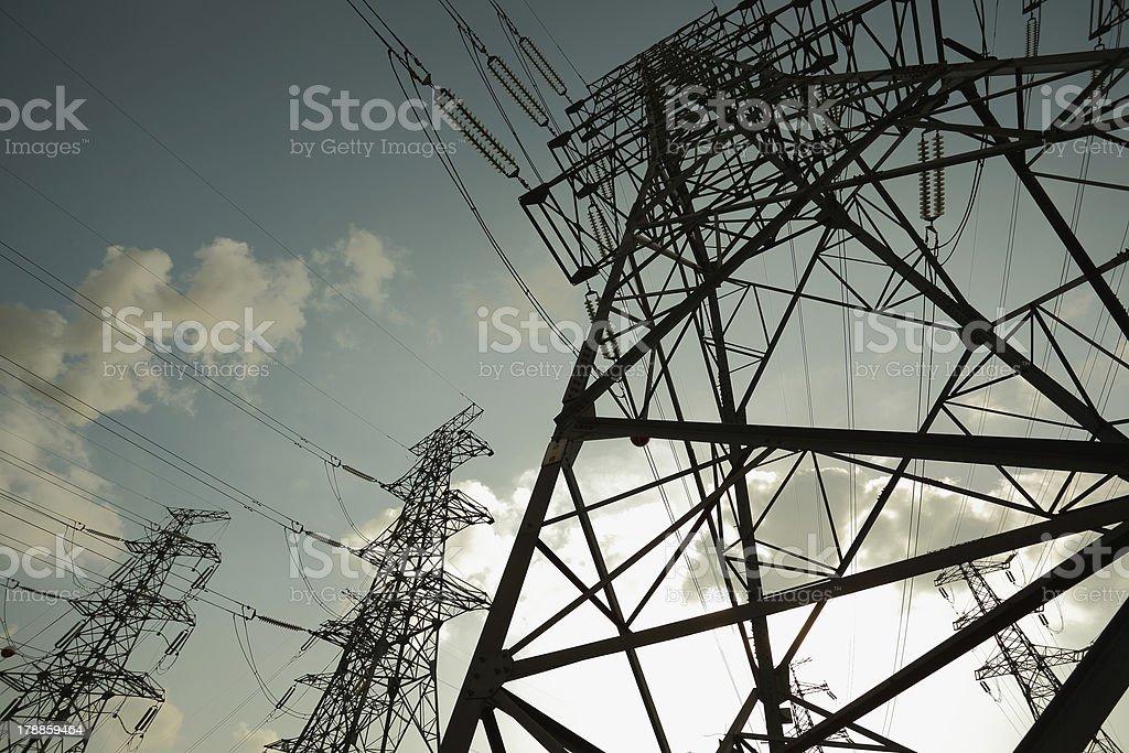 Transmission tower on Sun sky background stock photo