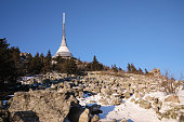 istock Transmitter and lookout tower in a winter landscape on the hill Jested. 823505352