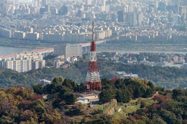 TV transmitter tower in Seoul, South Korea stock photo
