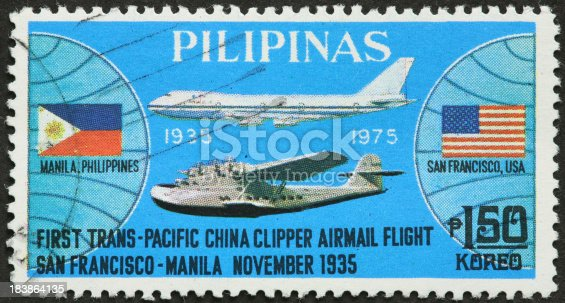 trans-Pacific airmail flight 1935 celebration on Philippines stamp