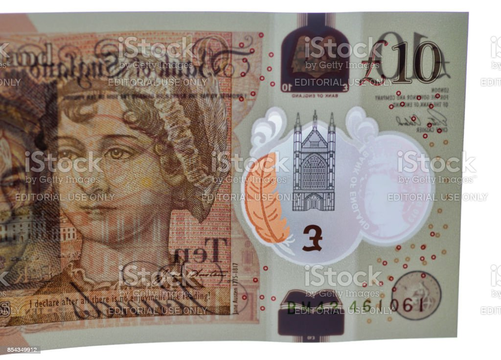 Transparency in the new UK ten pound note stock photo